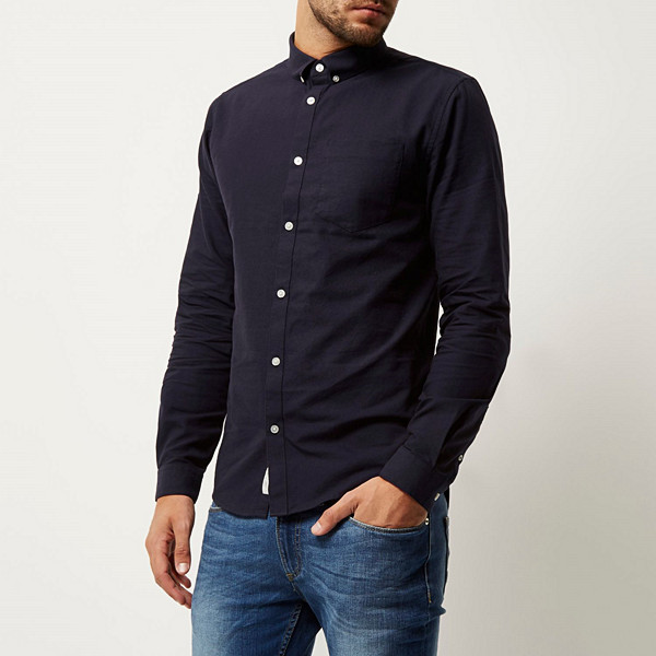 River Island navy casual Oxford shirt