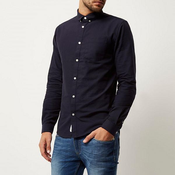 River Island navy casual Oxford shirt