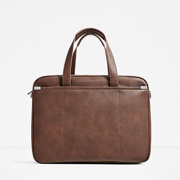 Zara brun och klassisk attachéväska