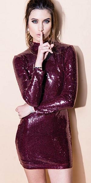 Lucy Wang Disco Ball Wine paljettklänning