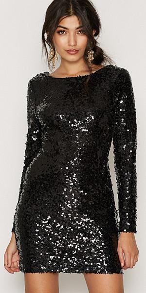NLY One svart långärmad paljettklänning
