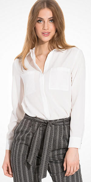 Topshop Long Sleeve Fitted Shirt vit skjorta
