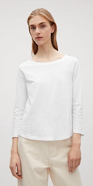COS vit trekvartärmad t-shirt