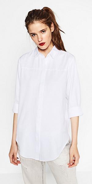 Zara vit oversize skjorta