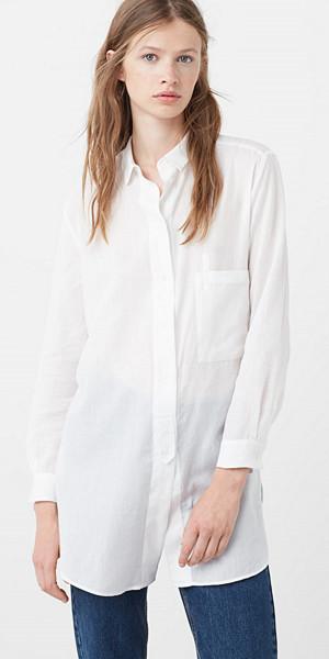 Mango lång vit skjorta