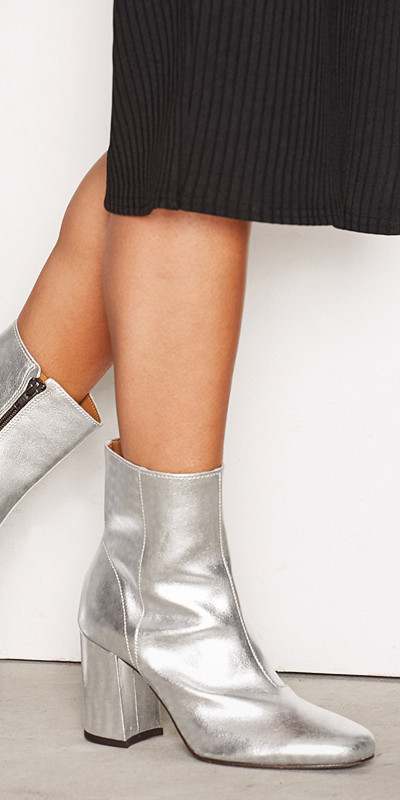 Miss Selfridge leather ankle boot metallic silver