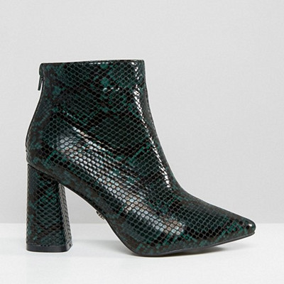 Daisy Street Green Snake Print Heeled Ankle Boots