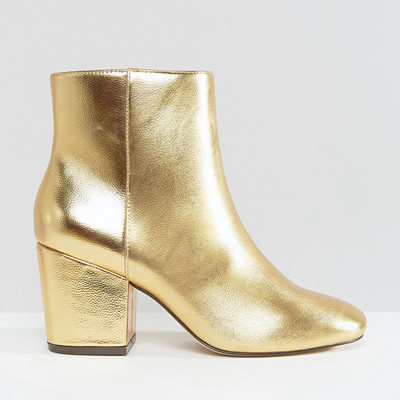 ASOS Rachelle heeled ankle boots gold