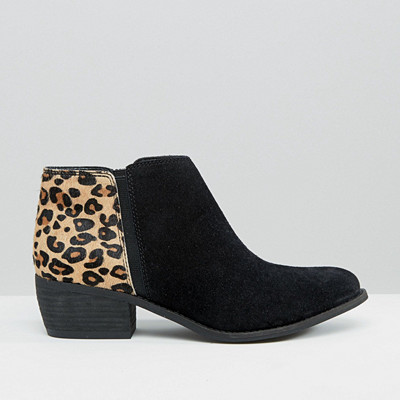 Dune Penelope Leopard Detail Suede Ankle Boots