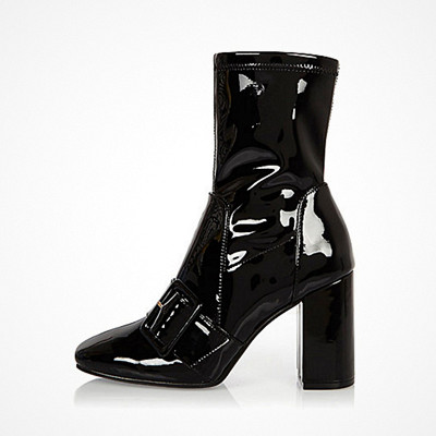 River Island Black Patent Stretch Ankle Boots