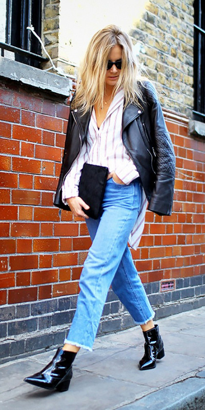 Frayed-Edge Jeans and Patent Leather Ankle Boots
