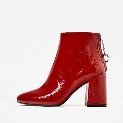 Zara högklackade röda boots