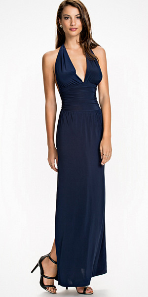 Club L Deep V Maxi klänning halterneck-modell
