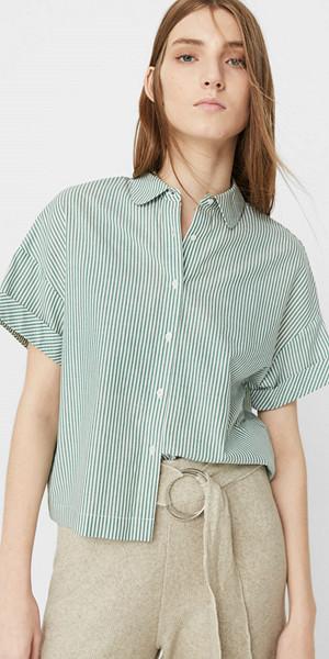 Mango grön randig bomullsskjorta