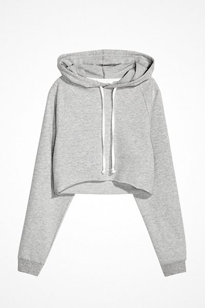 H&M grå kort huvtröja