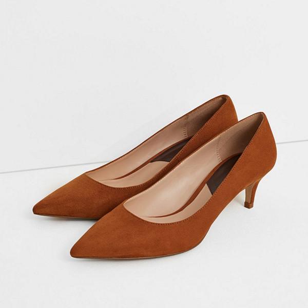 Mango spetsig sko med taxklack