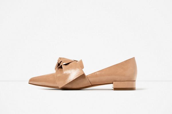 Zara hudfärgade loafers med rosett