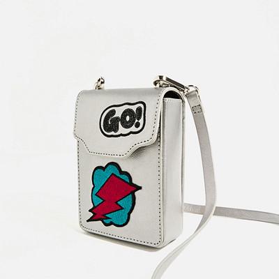 Zara silverfärgad handväska i miniaxelformat