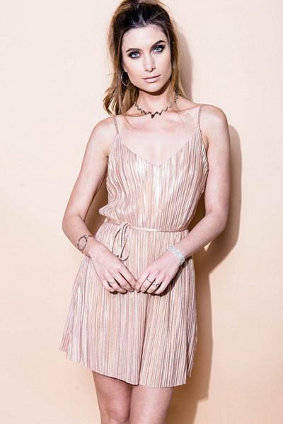 Mix from Italy rosa plisserad klänning