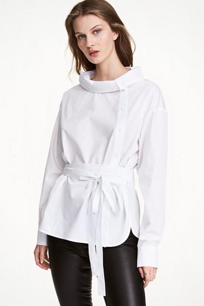 H&M vit långärmad blus
