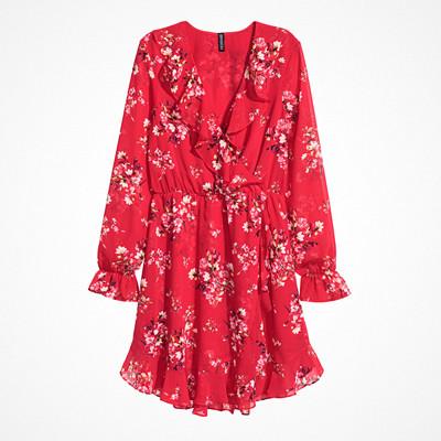 H&M klänning med volang kring halsringning