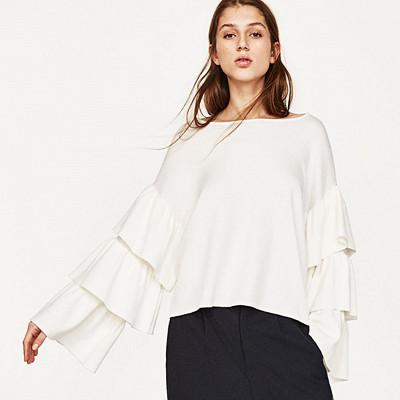 Zara vit blus med volangärmar