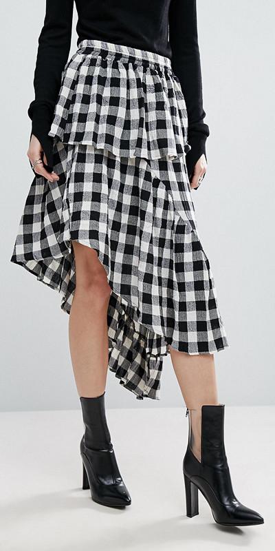 ASOS gingham-mönstrad kjol