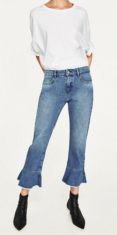 Zara jeans med volanger