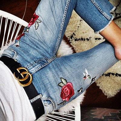 Inspiration blommiga jeans