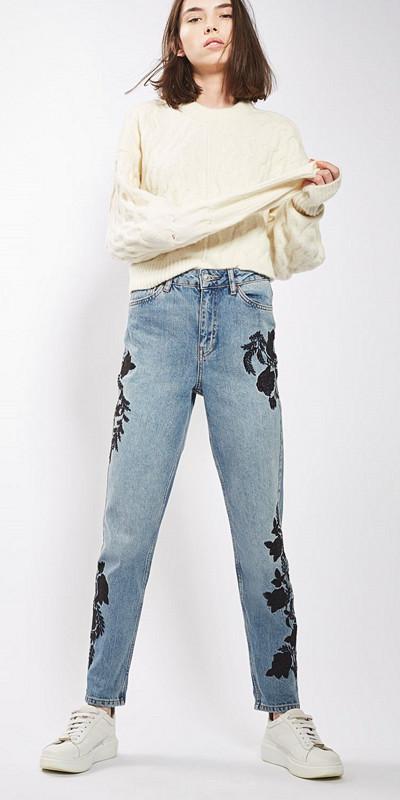 Topshop blommiga jeans