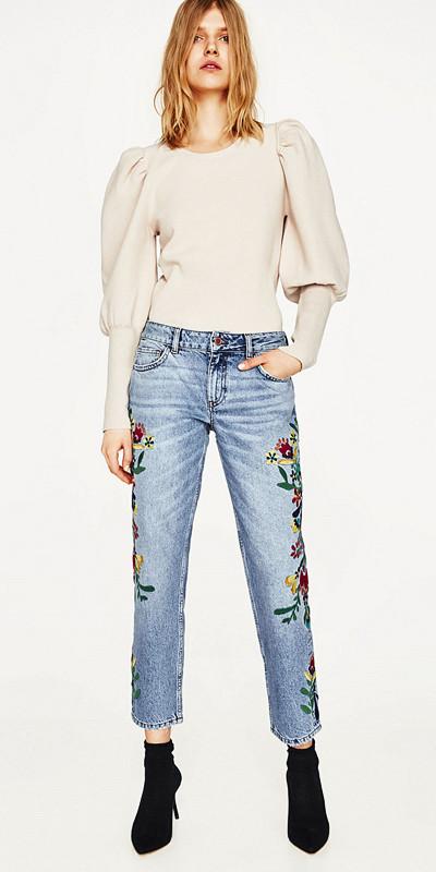 Zara blommiga jeans