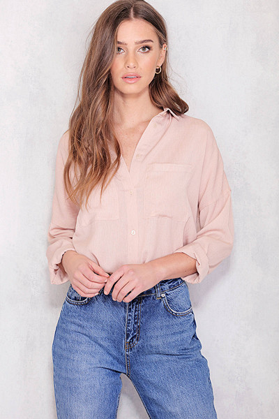 Chiquelle rosa skjorta loose fit