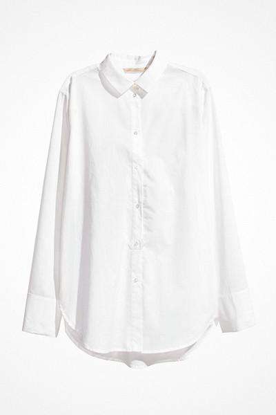 H&M vit längre bomullsskjorta