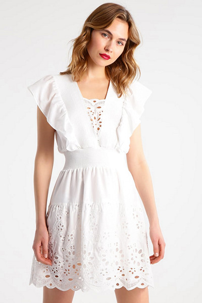Designers Remix vit klänning med volanger