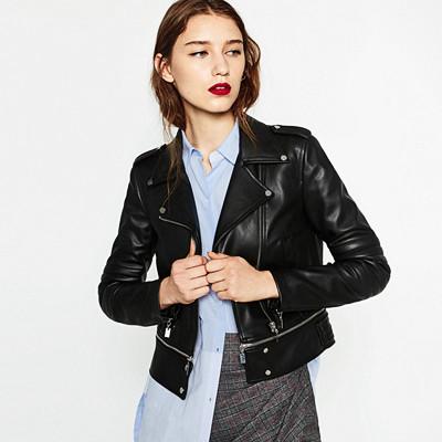 Zara svart skinnjacka