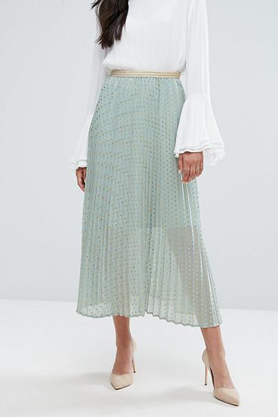 Y.A.S Tall plisserad kjol polka dot