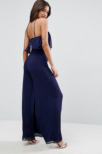 ASOS marinblå jumpsuit Crinkle