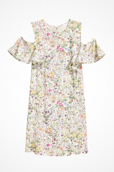 H&M blommig cold shoulder-klänning