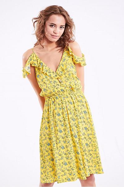 Bik Bok blommig cold shoulder-klänning
