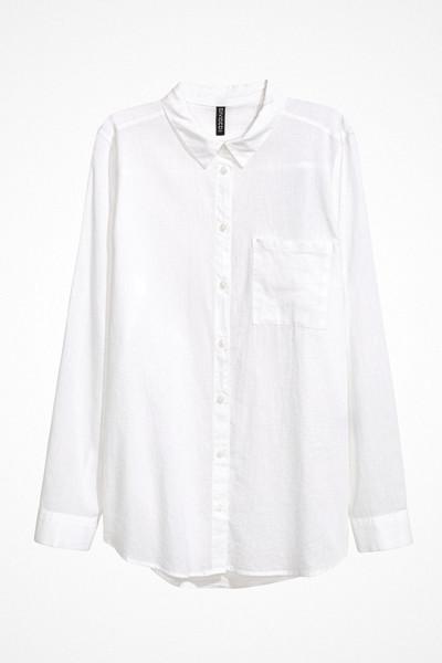 H&M tunn bomullsskjorta med linnekänsla