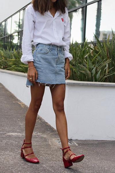 Inspirationsbild jeanskjol med skjorta