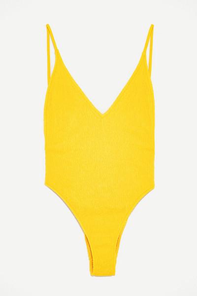 Zara gul baddräkt med bivaxstruktur