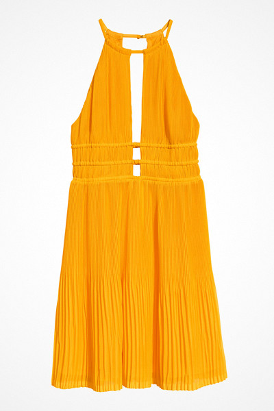 H&M gul plisserad halterneckklänning