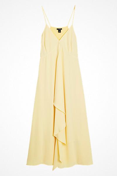 Lindex gul ärmlös volangklänning