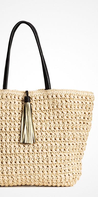 H&M shopper-väska flätat pappersstrå