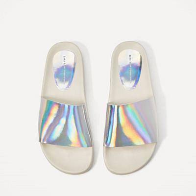 Zara silverfärgade slip-on sandaler