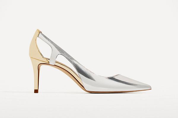 Zara silverfärgad klacksko med spetsig tå