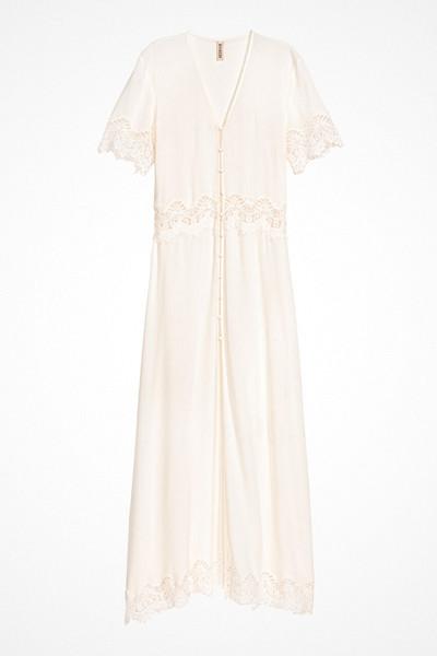 H&M lång vit klänning med knäppning