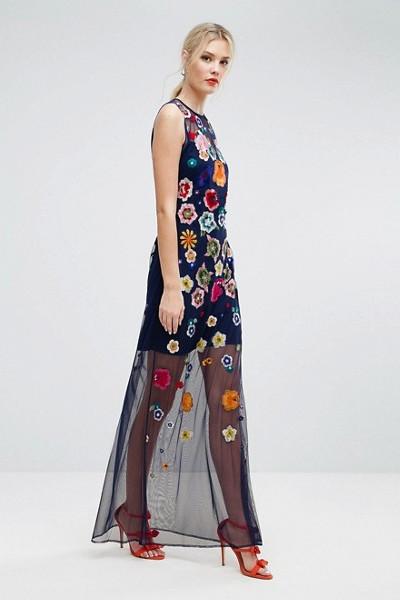 ASOS transparent klänning med broderade blommor