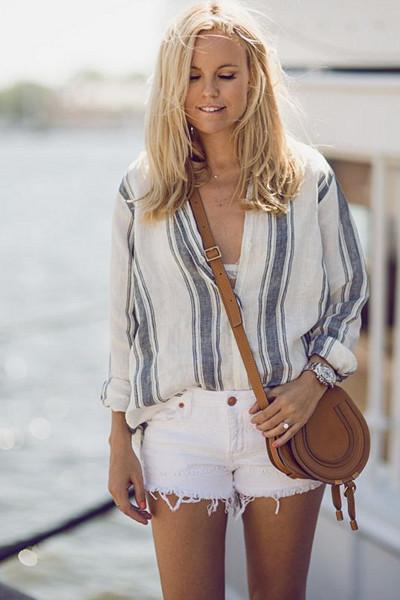 Inspiration randig linneskjorta